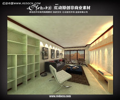 现代客厅3d模型设计源文件