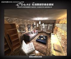 现代欧式客厅3d模型效果图源文件