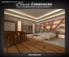 田园卧室max模型源文件设计