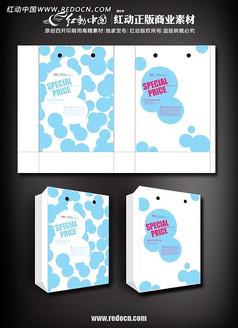 蓝色圆点手提袋矢量图设计