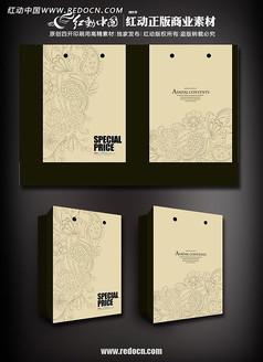 牛皮纸抽象花纹手提袋ai设计