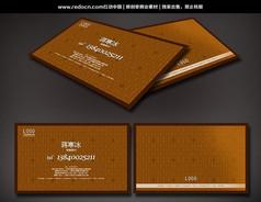 棕色花�y背景�框名片
