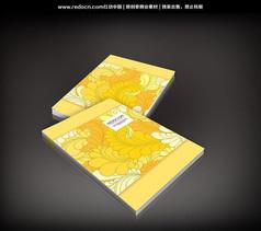 黄色线描大花图案书籍封面
