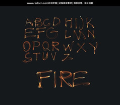 24个火焰英文字母设计