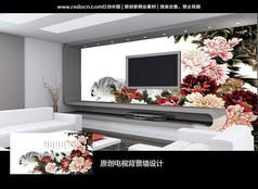 中国牡丹富贵电视背景墙