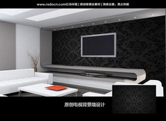 黑色传统花纹电视背景墙