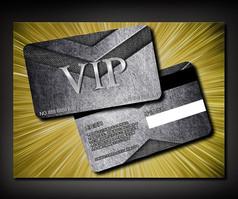 银色金属商场VIP卡模板