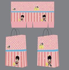 可爱粉色学生卡通风格手提袋