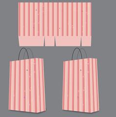 粉色线条可爱学生风格手提袋