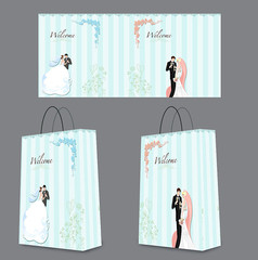白色清新卡通風婚慶手提袋包裝