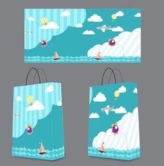 天�{色卡通可�埏L天空海洋手提袋