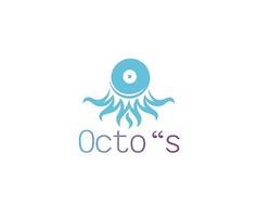 蓝色创意章鱼logo