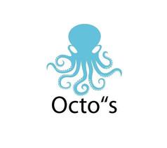 蓝色章鱼简约logo