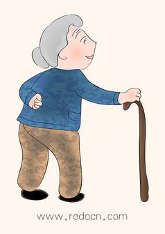 可爱卡通手绘老人插画