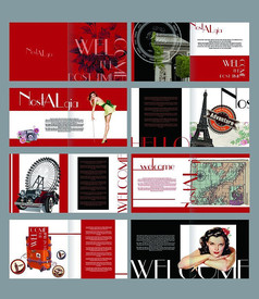 复古黑红女性画册