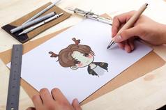 手�L鹿晗卡通