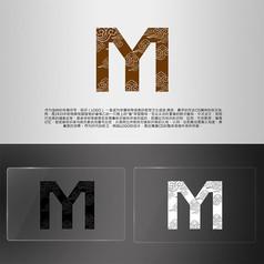 中国风M字母祥云造型LOGO
