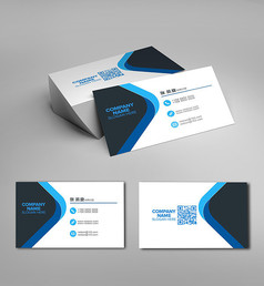 蓝黑二维码名片设计