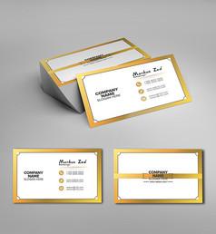 橙色边框商务名片设计