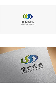 简约循环蓝绿色企业logo