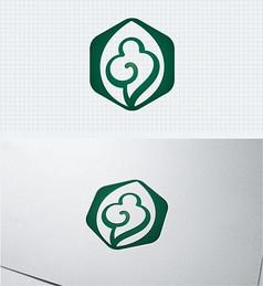 养生祥云中国风绿色标志