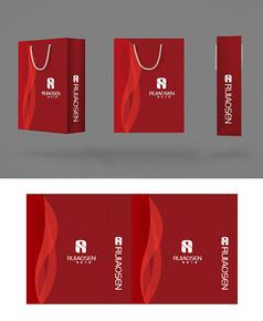 红色简洁商务企业手提袋