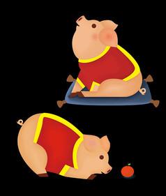 原创元素手绘卡通小猪元素