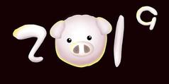 原创元素手绘雪人猪年2019