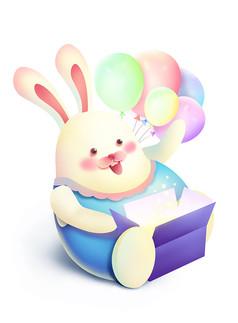 原创元素六一儿童节可爱开盒子兔子
