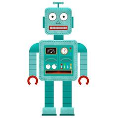 原创插画童年玩具机器人