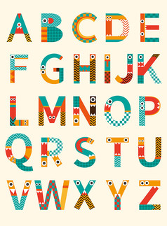 原创元素26个英文字母小怪兽字体