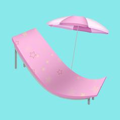 原创手绘沙滩椅和太阳伞元素