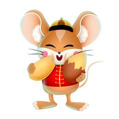 手绘新年老鼠造型