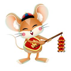 新年老鼠卡通造型