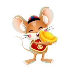 捧着金元宝的老鼠