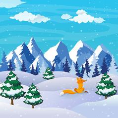 原��元素冬季雪景小狐�