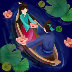 原创元素七夕牛郎织女划船放花灯