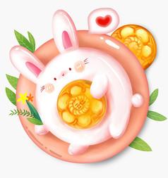原创元素创意中秋之贪吃月饼的玉兔