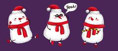 原创元素可爱的小雪人