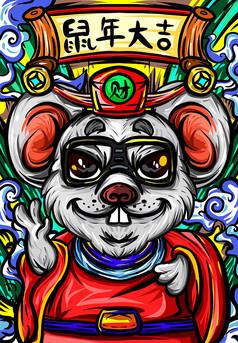 原创元素国潮之新年财神老鼠