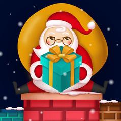 原创圣诞老人烟囱送礼物卡通