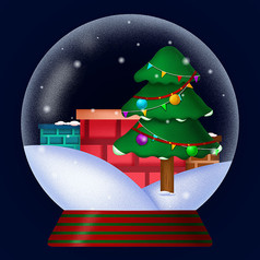 原创圣诞雪球卡通插画元素