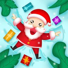 原创雪地里玩耍的圣诞老人