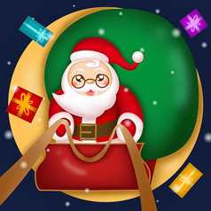 圣诞老人驾车送礼物卡通