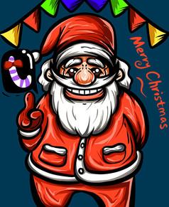 原创国潮风涂鸦圣诞老人