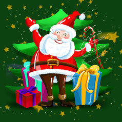 原创元素圣诞老人送礼盒