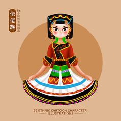 原创元素56个民族人物插画-仡佬族