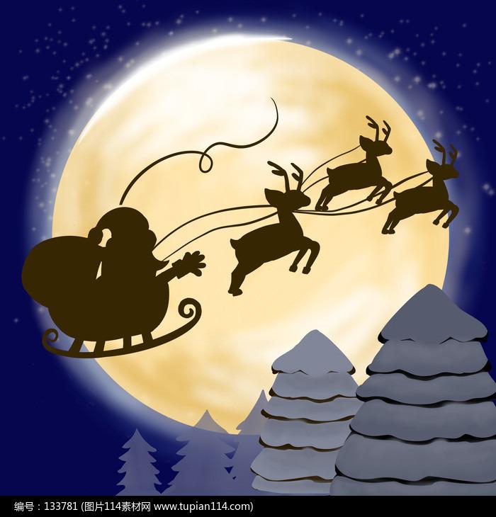 原创元素圣诞老人乘车插画