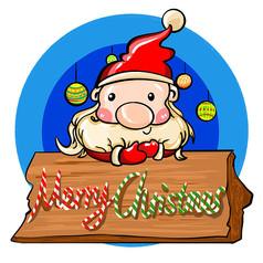 原創元素聖誕老人聖誕快樂牌子