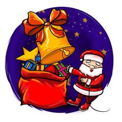 原创元素圣诞老人摇铃铛
